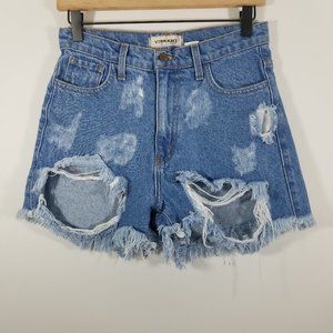 Vibrant High Rise Distressed Jean Shorts Size S